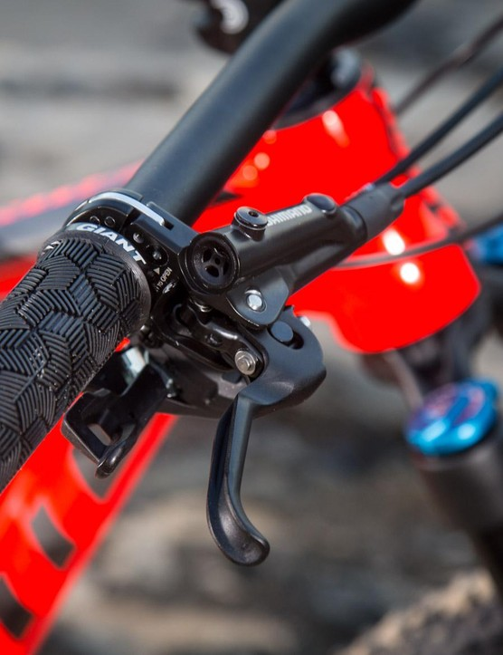The Shimano MT500 I-Spec II brakes and levers have previously been a bit gutless, but combined with a 180mm rotor at the front that could change somewhat