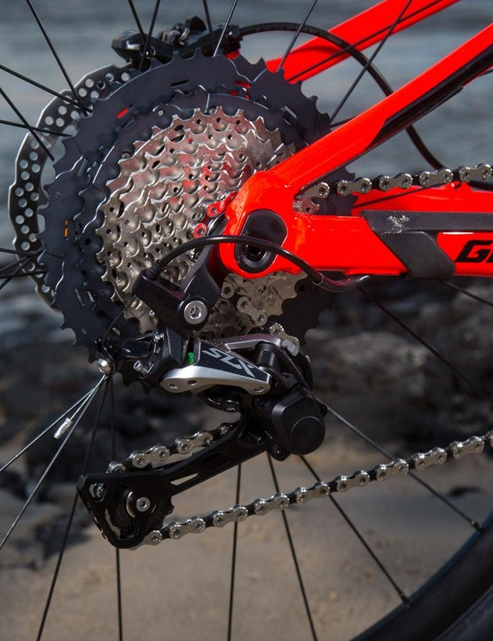 An SLX derailleur navigates the gears at the back