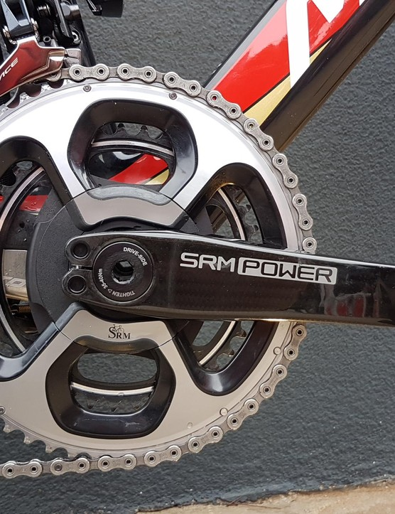 Paired with the Dura-Ace groupset is a SRM Origin power meter crankset with Dura-Ace 9000 series chain rings