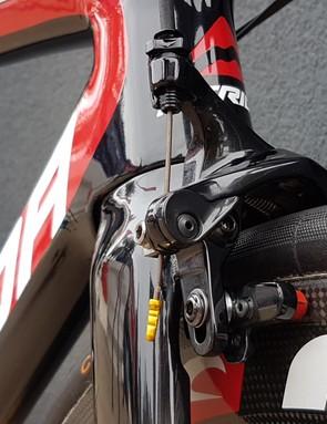 The bike runs direct mount Dura-Ace brakes