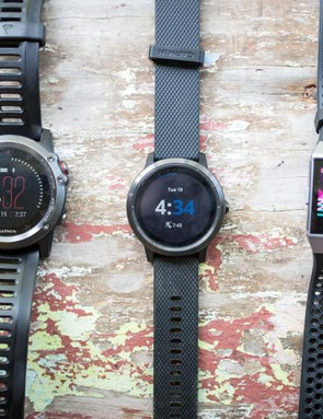 The Vivoactive3 is quite small compared to the Fenix 3 (right) and Fitbit Ionic (left)