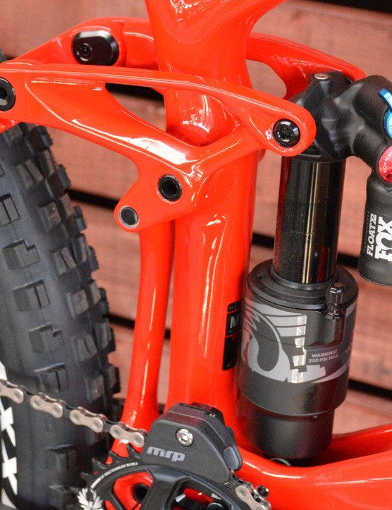 Felt's Equilink rear suspension is on board, delivering 165mm of travel