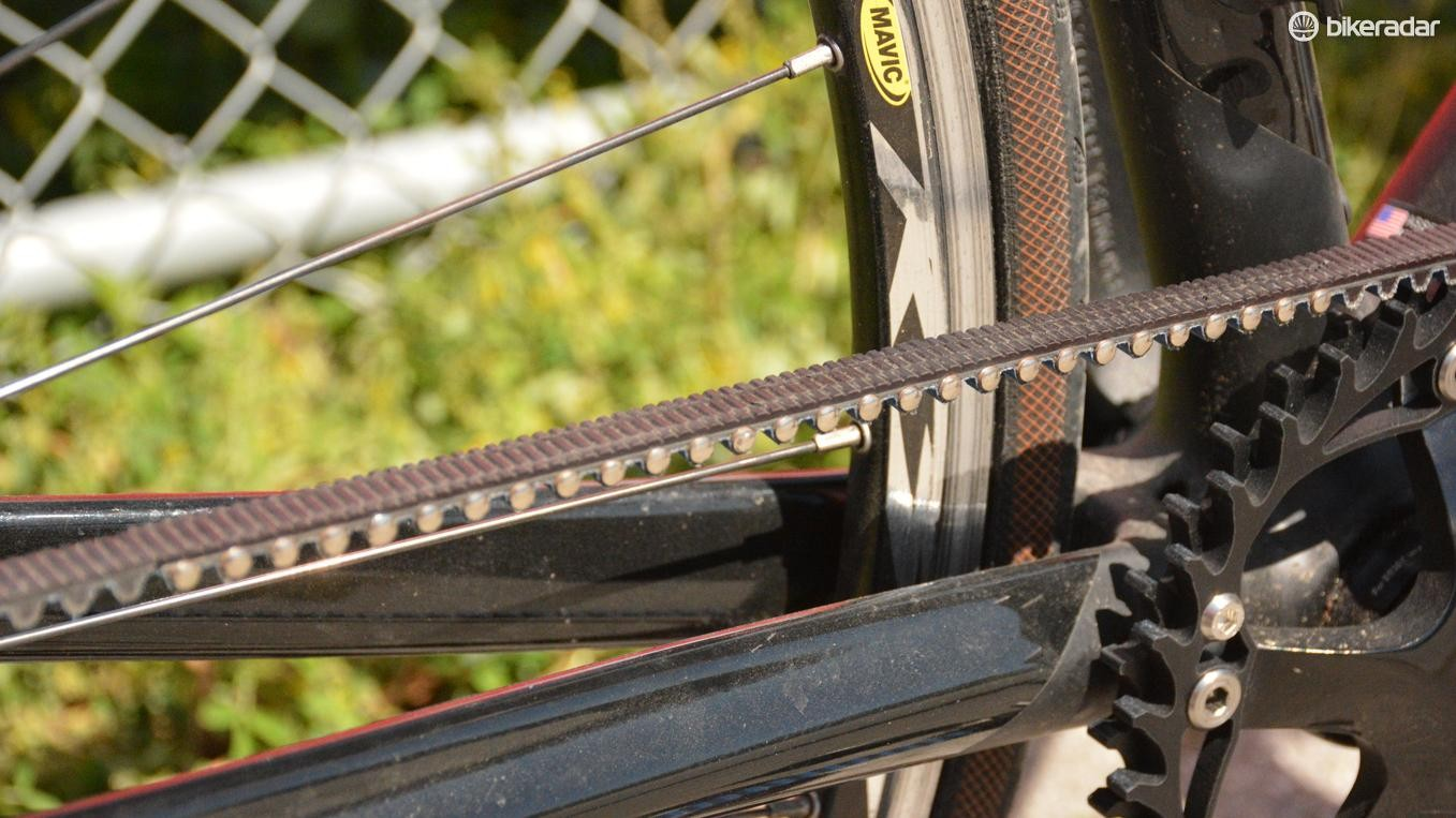 Rivets and a custom-sized belt are the secrets to Veer's any-bike belt solution