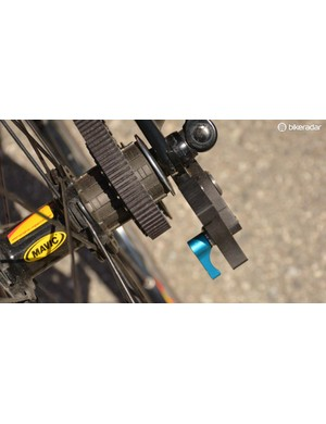 The blue lever releases the tension for wheel removal