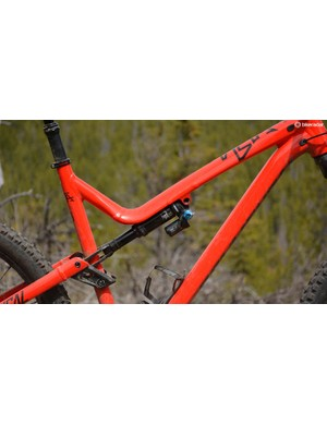 Commencal's bikes have a distinctive look with the rear shock nestled in the bent top tube