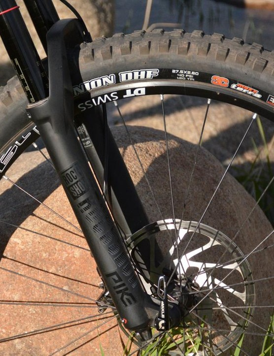 Front end action is handled by a 150mm travel RockShox Pike RC fork