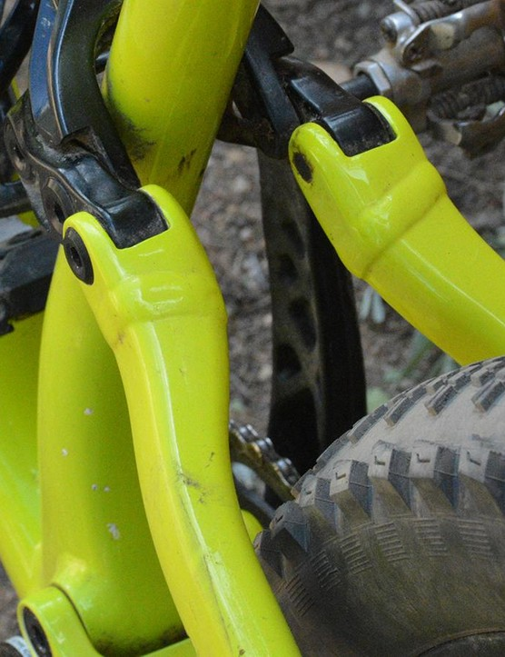 There's no seatstay bridge so the rear can take multiple wheel sizes and compress through its 135mm of travel