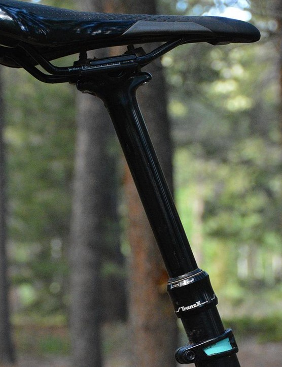 The Tranz-X dropper post had less side to side play at the saddle than many high-end posts