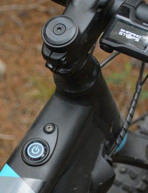 Push button start. The top tube-mounted button has nice blue backlighting