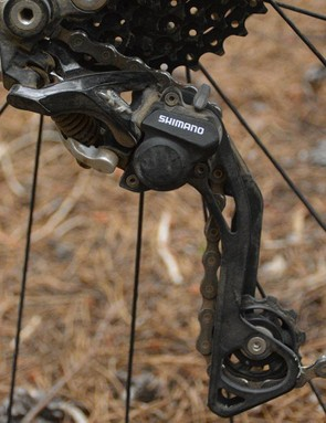 Shimano's XT rear derailleur clicks through 10 speeds