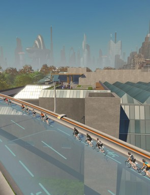 Ride through the city on suspended glass roads