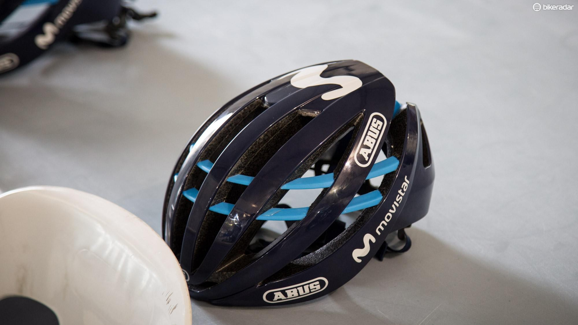 Movistar had the new (as of October 2017) Aventor lids laid out for Wednesday's training ride