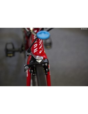 Katusha is a SRAM sponsored team, but its Canyon Aeroad bikes have direct mount brakes which SRAM doesn't make. So the team uses these debadged Dura-Ace 9000 brakes