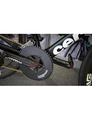 A few of the Dimension Data riders were spotted using these carbon fibre Rotor chainrings