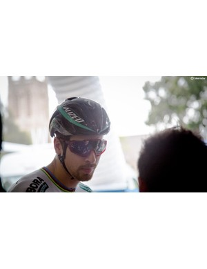 Peter Sagan was wearing a Specialized Evade and of course 100% sunnies