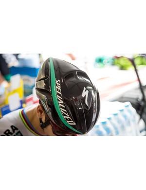 Being world champ he's got a custom helmet