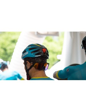 Many of the Astana riders were wearing the new Limar Ultralight Lux. We're not sure what the red bumper in the vent is however