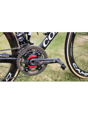 UAE-Team Emirates equip their Campagnolo Super Record cranksets with a Power2Max power meter