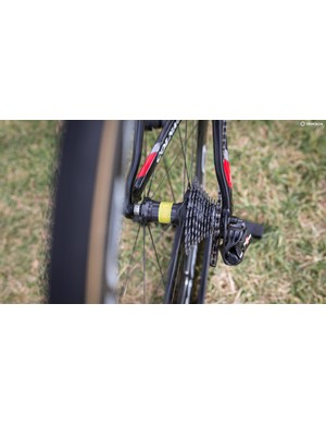 Yellow tape signifies that this wheelset is Ulissi's