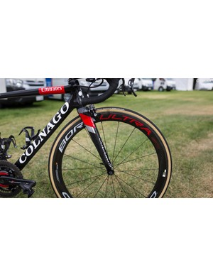 The full Campagnolo Super Record groupset is paired with Bora Ultra 50 wheels