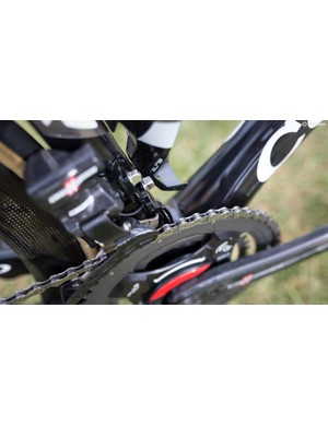 The frameset is equipped with a chain catcher