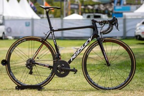 Without having a custom paintjob, Adam Hansen's Ridley Helium SLX is one of the most unique race bikes in the peloton
