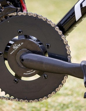 The mechanics have done a pretty good job hiding Hansen's Bor chainrings