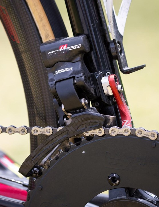Hansen's front derailleur looks like it's been well used