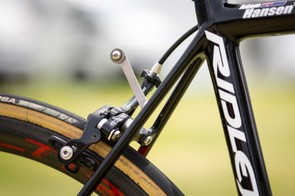 Hansen's number holder is pretty much the only run of the mill component on his bike