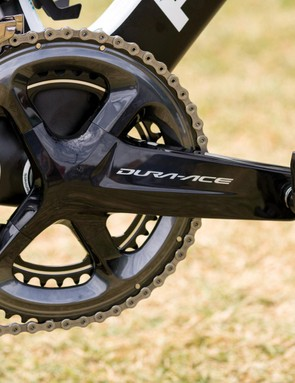 Bernal is equipped with a Shimano Dura-Ace R9100 crankset with standard 53/39 chainrings