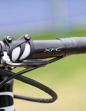 The Di2 cables are shrink-wrapped to the brake cables for a tidy front-end on Bernal's bike