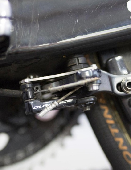 The rear brake is located underneath the bottom bracket to improve aerodynamics on the rear end of the bike