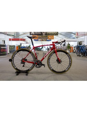 Trek-Segafredo's Trek Emonda Disc with Shimano Dura-Ace R9170 and Bontrager Aeolus wheels