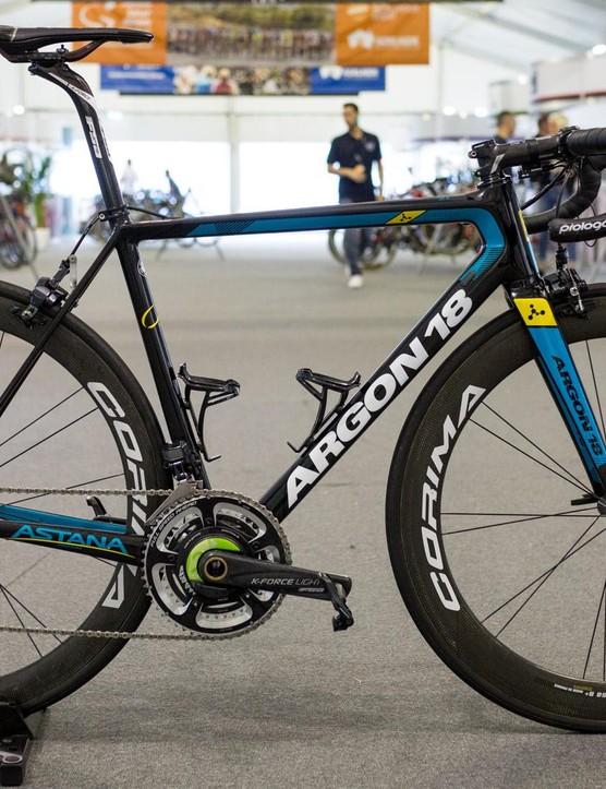 Astana's Argon18 Gallium Pro with Shimano Dura-Ace R9150, FSA cranks and Corima 55 S+ wheels