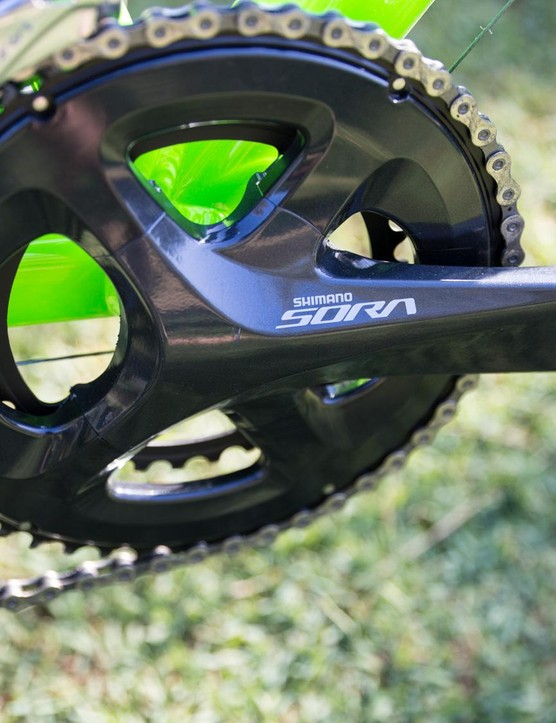 Shimano updated the Sora crank to its four-arm system