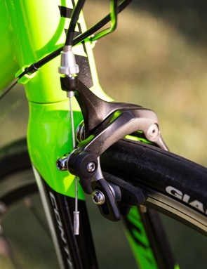 The unbranded Tektro brakes don't offer quite the same modulation as their Shimano counterparts