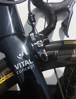 Direct mount Shimano Dura-Ace R9100 brakes provide the stopping power for Coquard