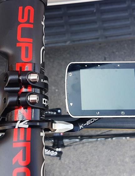 Rui Costa uses a Garmin Edge 520 computer with a K-Edge aluminium out-front mount