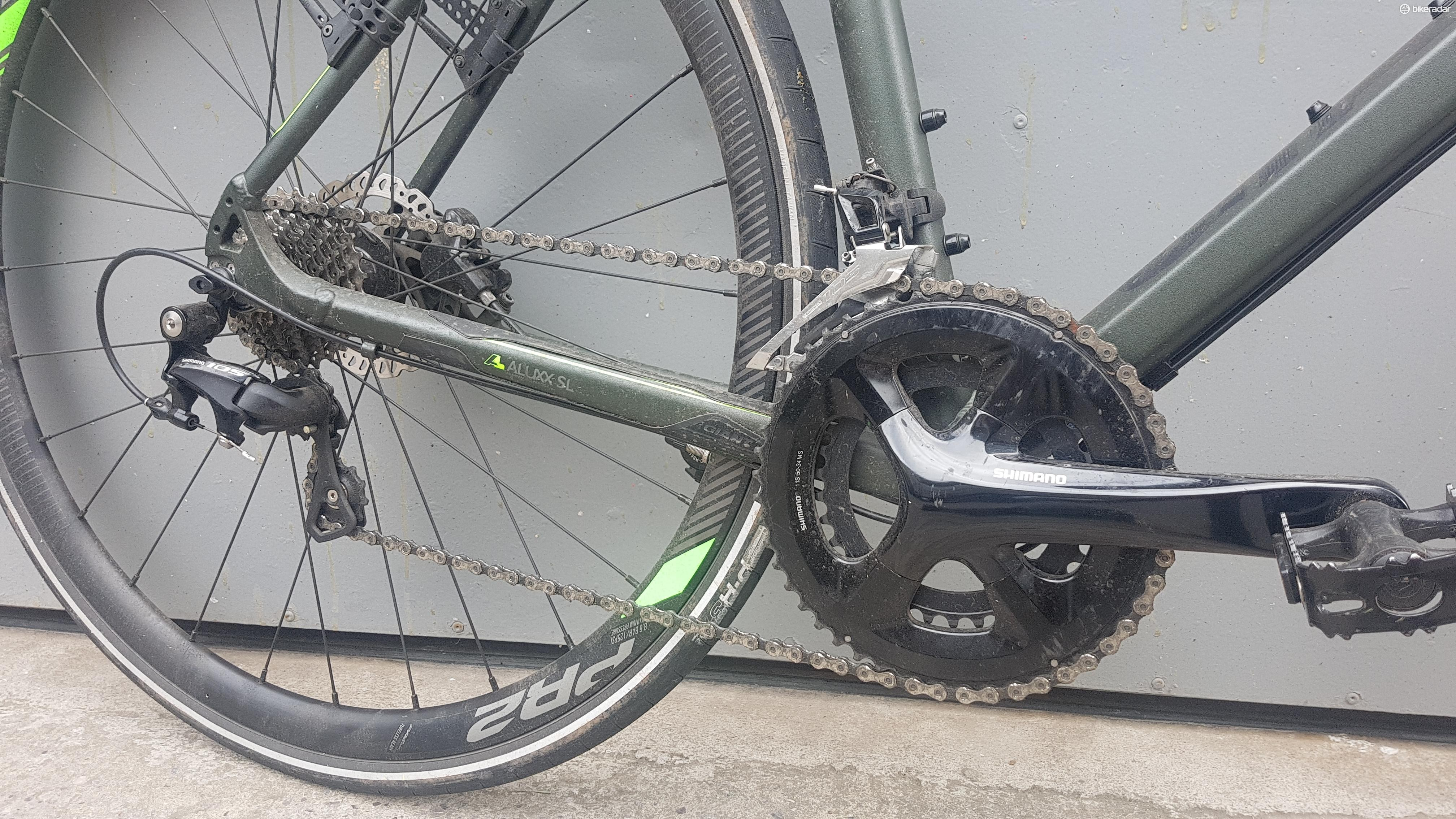 The Shimano 105 drivetrain proved faultless