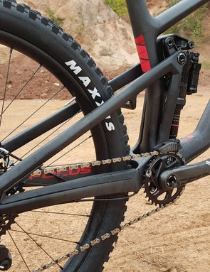 The rear triangle is a single item, with no pivots to help keep weight low