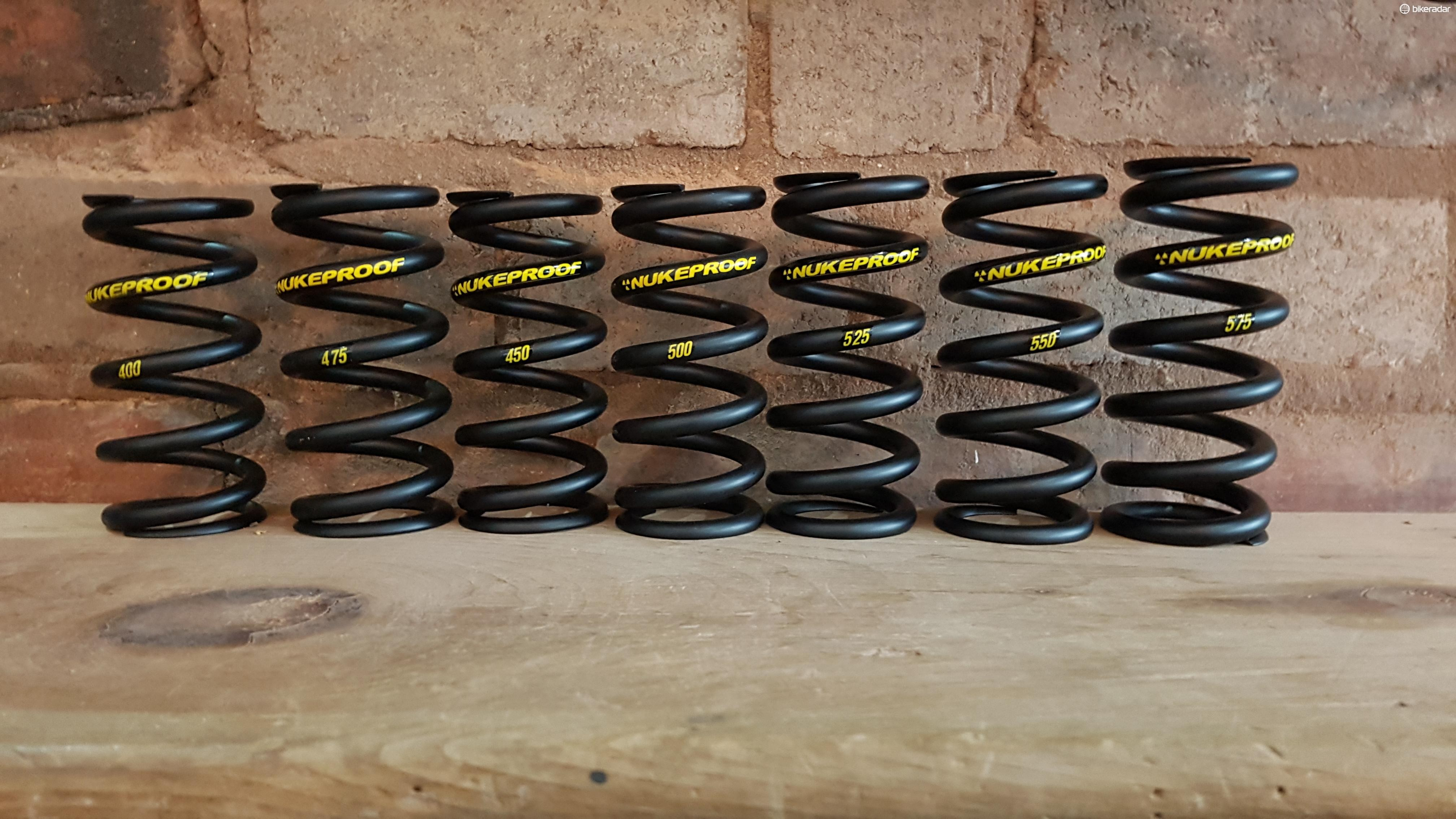 Nukeproof also offers a range of lighter replacement springs for most common coil shocks