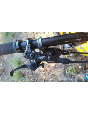 Shimano XT levers sit atop the SLX shifter