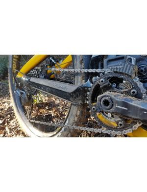 An e*13 chainguide keeps the chain snug