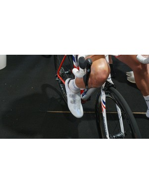 This FDJ rider opts for the same shoes in a sparkly white finish