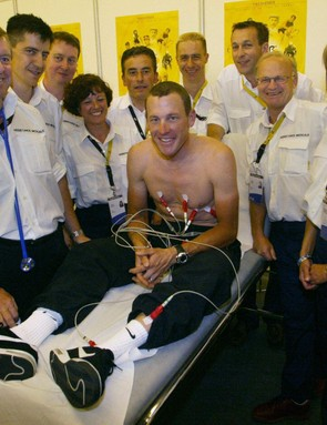 Happier times for Armstrong and the Tour de France medical staff in 2003.