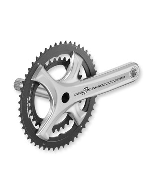 The crankset's silver finish has a more classical look to it