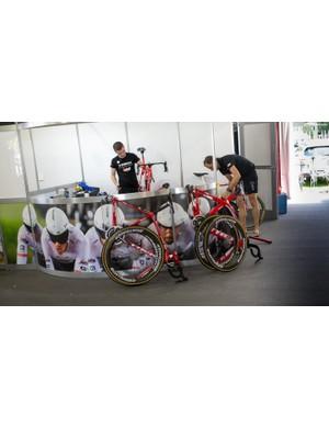 The Trek-Segafredo team mechanics at work
