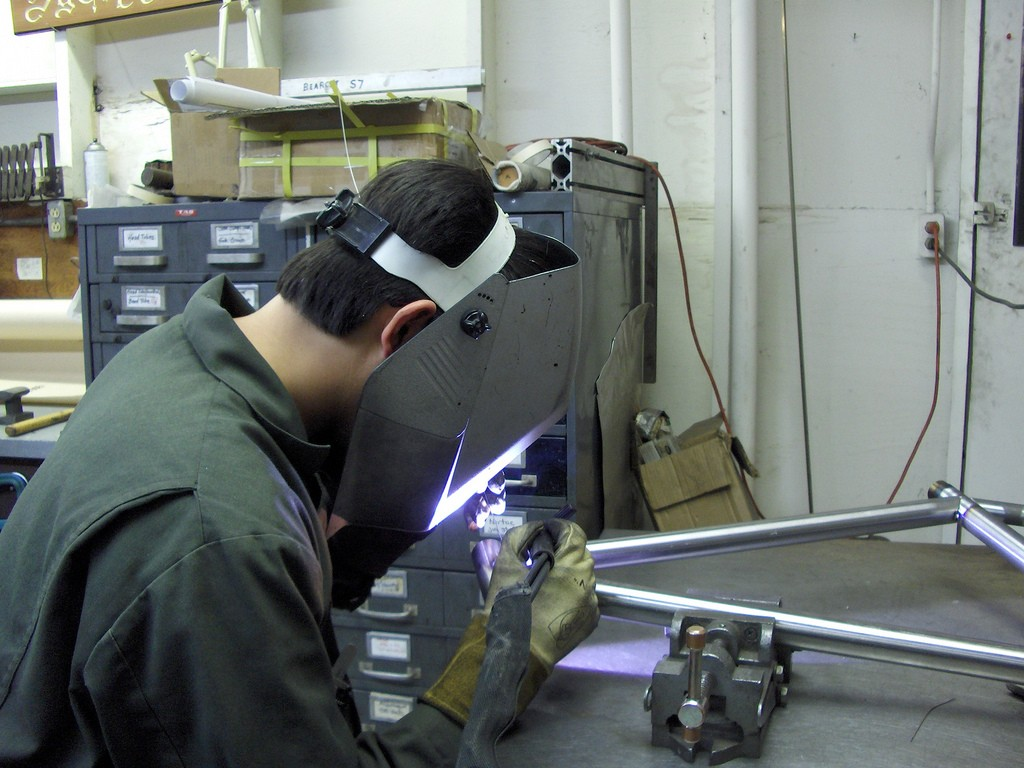 Jeremy, brazing away at the table.