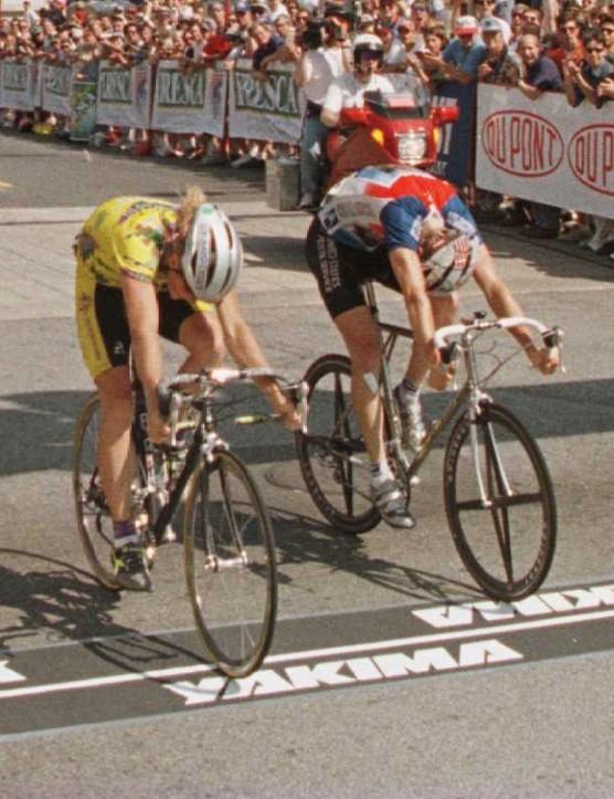 Felt-sponsored racer Chris Horner (L) wins Stage 10 of the 1996 Tour du Pont.