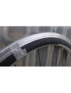 A more conventional-looking prototype rim with its joints smoothed by aluminium tape